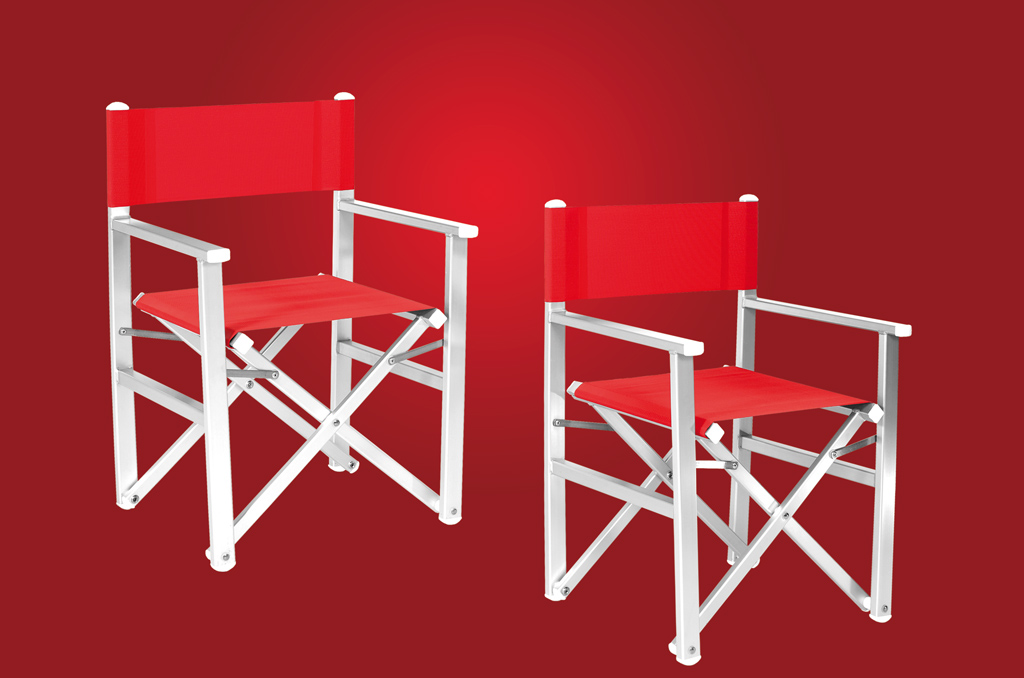 Chairs in anodized aluminium